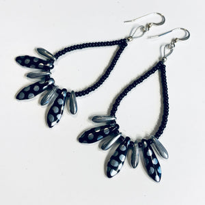 Amanda Earrings Beaded in Metallic Black and Silver Polka Dot