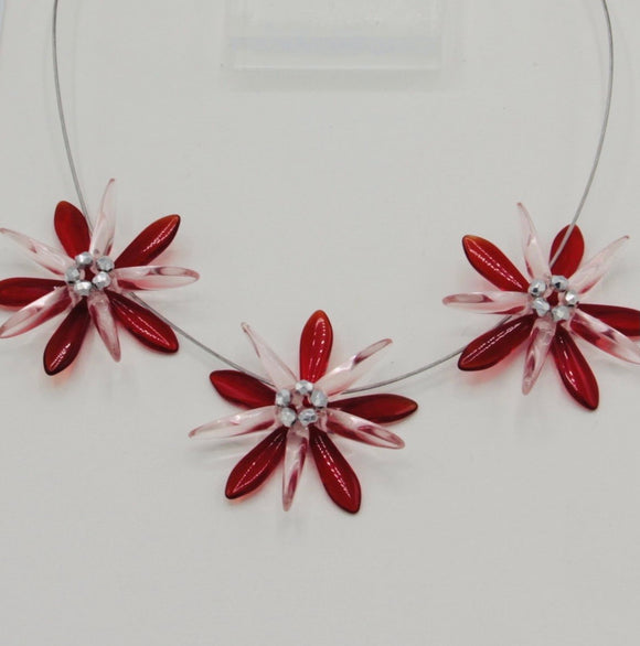 Anna Necklace in Red and Pink with Silver Accents