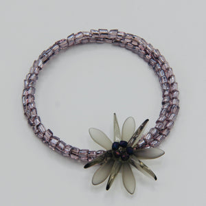 Zoe Beaded Bracelet in Purple and Matte Olive Gray