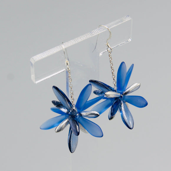 Laura Earrings in Bright Blue Laser-Etched