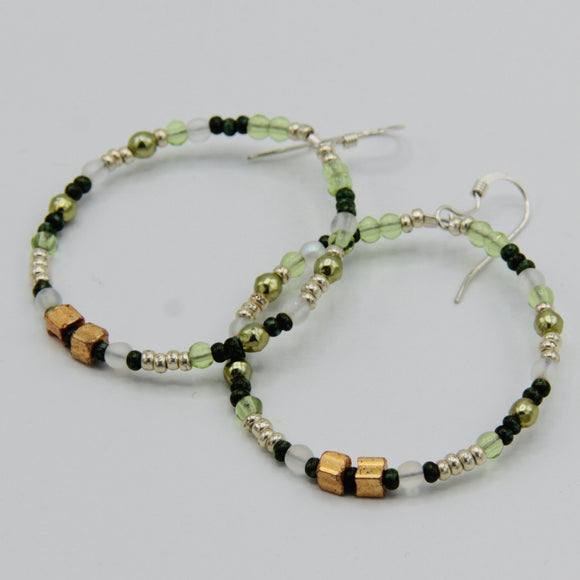 Hannah Boho Earrings in Green and Gold
