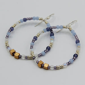 Hannah Boho Earrings in Blue and Gold