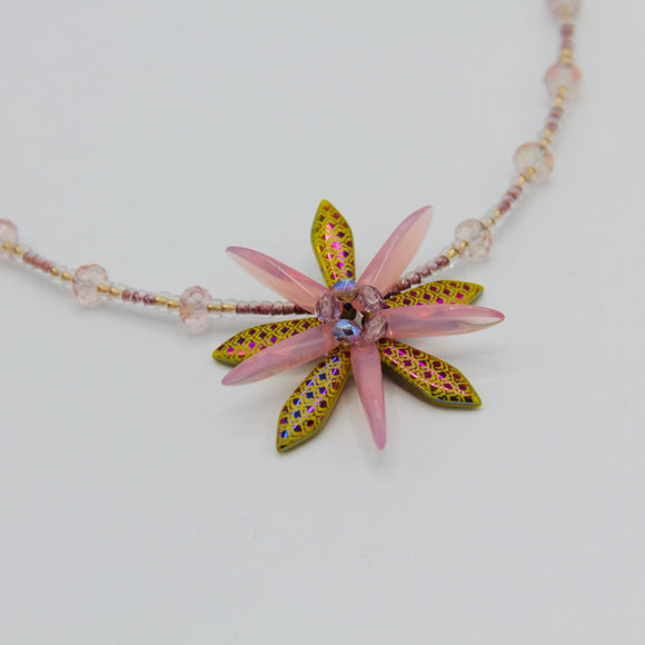 Elizabeth Beaded Necklace in Laser Etched Lizard Skin in Pink and Golden