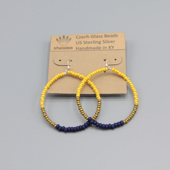 Hannah Earrings in Blue, Yellow and Matte Gold
