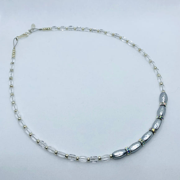 Nora Necklace in Silver with Crystal Rhinestones