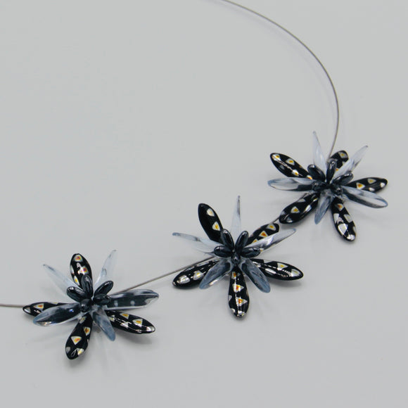 Anna Necklace in Metallic Black with Silver Accents