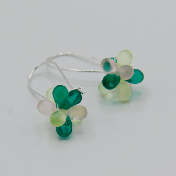 Tami Earrings in Green and Pastel Pink