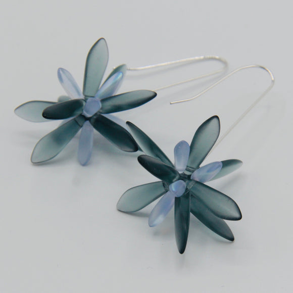 Natalie Earrings in Matte Montana Blue with Frosty Accent
