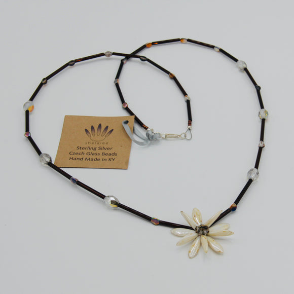 Elizabeth Beaded Necklace in Off-White with Brown