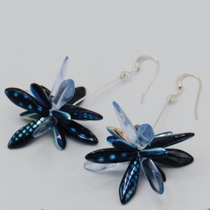 Emma Earrings in Blue Metallic Design