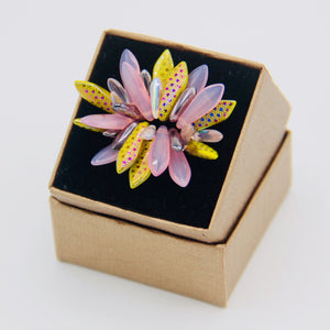 Wendy Ring in Laser Edged Lizard Skin in Pink and Yellow