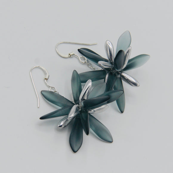 Laura Earrings in Matte Montana Blue with Silver Accents