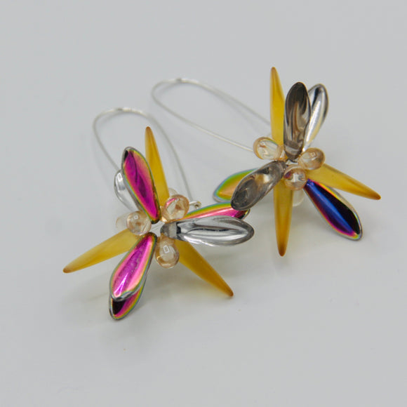 Eileen Earrings in Honey Yellow and Metallic Multicolor Shine