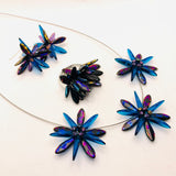 Anna Necklace in Metallic Laser-Etched Black and Blue