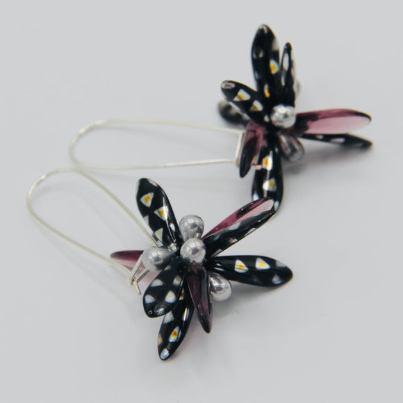 Eileen Earrings in Metallic Black with Silver and Purple