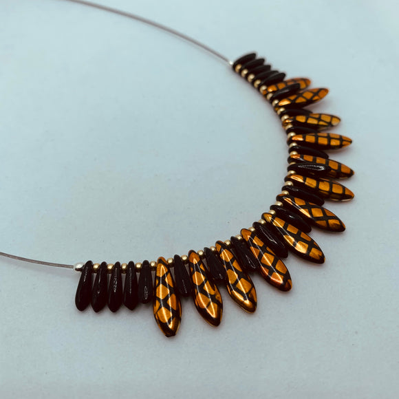 Rebecca Necklace in Golden and Black Crosshatch
