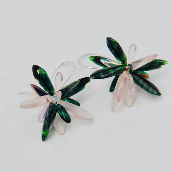Eileen Earrings in Green and Pink