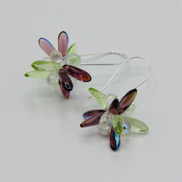 Mia Earrings in Purple Luster and Light Green