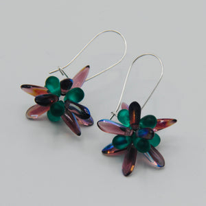 Mia Earrings in Purple Luster with Matte Green