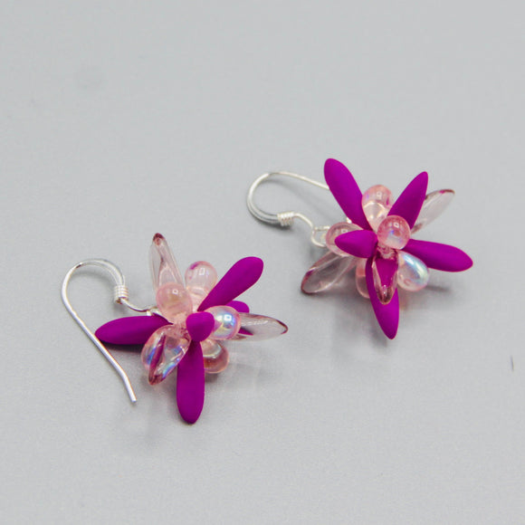 Mia Earrings in Neon Purple Shiny