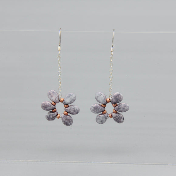 Daisy Earrings in Lilac with Stone Finish