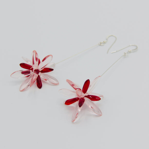 Shelalee Emma Earrings in Pink Red Czech Glass Beads Sterling Silver