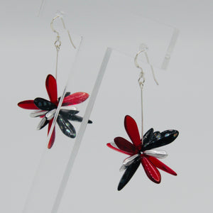 Emma Earrings in Black Metallic Dots, Red and Silver