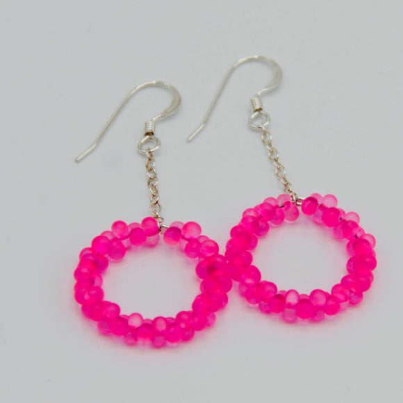 Shelalee Hannah Earrings Hoop Pink Czech Glass Beads Sterling Silver
