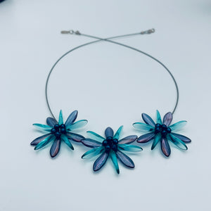 Shelalee Anna Necklace Blue Aqua Czech Glass Beads Sterling Silver