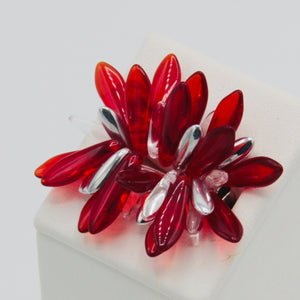 Shelalee Wendy Ring in Red Czech Glass Beads Sterling Silver