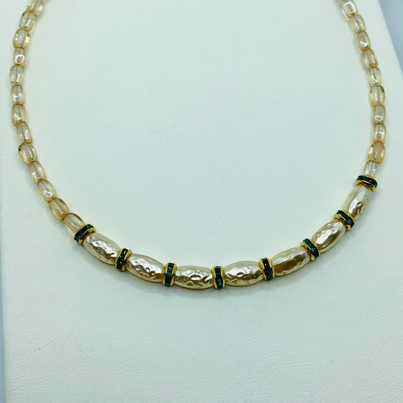 Nora Necklace in Gold with Green Rhinestones