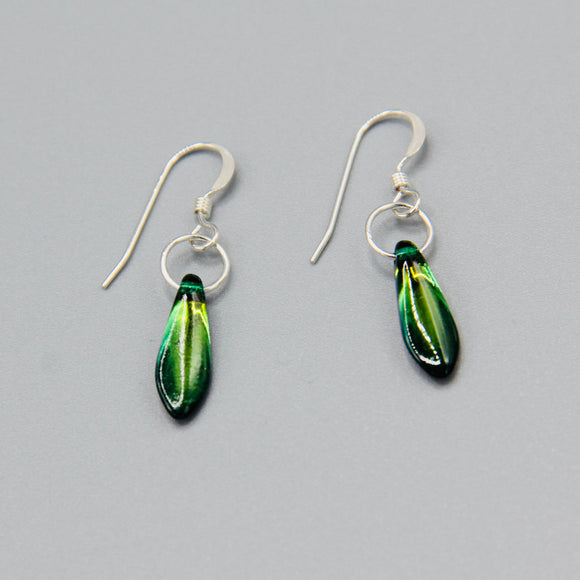 Jane Earrings in Shiny Green Purple Crystal