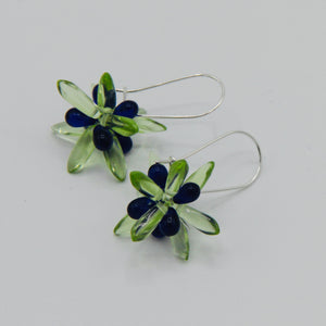 Mia Earrings in Bright Green with Deep Blue