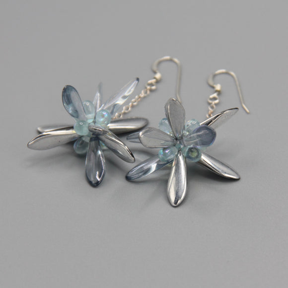 Laura Earrings in Silver Crystal with Light Blue Accent