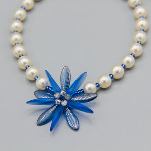Elizabeth Necklace with Pearls and Blue Flower