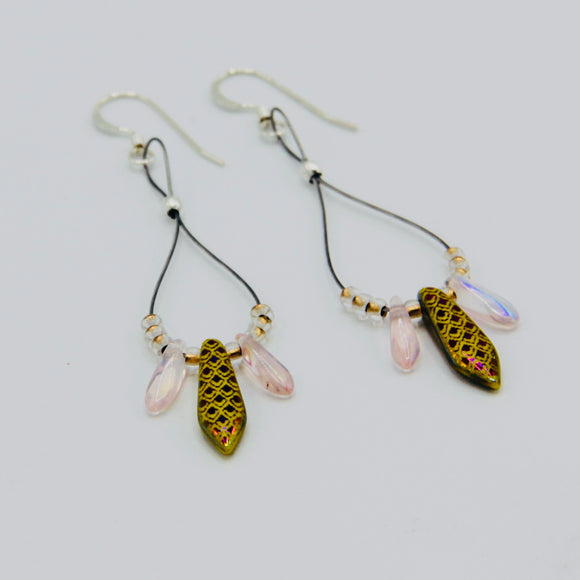 Janet Maxi Earrings in Laser Lizard Skin Yellow and Pink