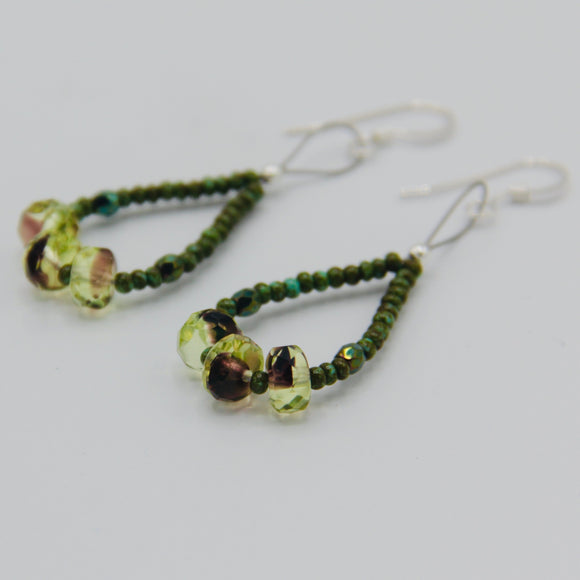 Nicolette Beaded Earrings in Green Mix