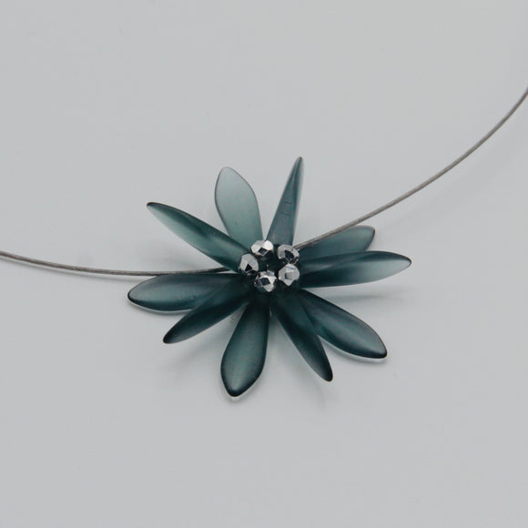 Elizabeth Necklace in Matte Montana Blue with Silver Center