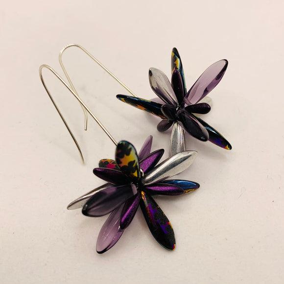 Natalie Earrings in Metallic Laser-Etched Black with Purple