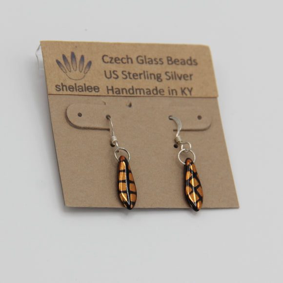 Shelalee Jane Earrings Metallic Gold Black Crosshatch Czech Glass Beads Sterling Silver