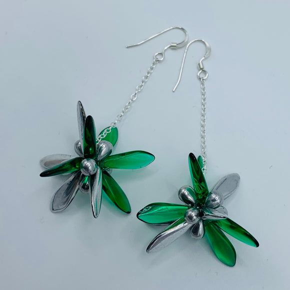 Laura Earrings in Green and Silver