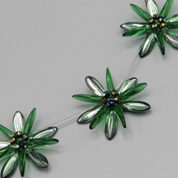 Anna Necklace in Green with Silver Accents