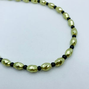 Nora Necklace in Pearly Green and Black