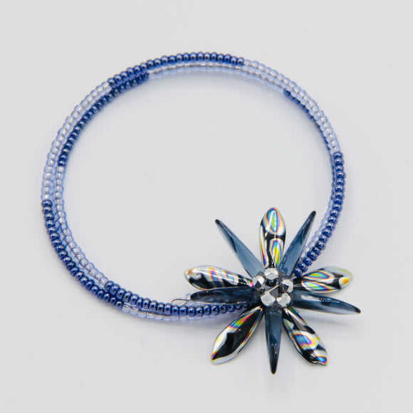 Zoe Beaded Bracelet in Metallic Black, Silver and Blue