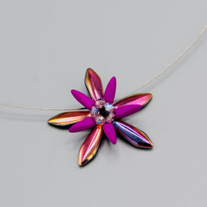 Elizabeth Necklace in Neon Purple and Shiny Rainbow