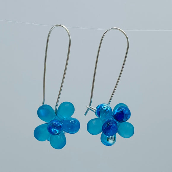 Shelalee Tracy Earrings Aqua Blue Czech Glass Beads Sterling Silver
