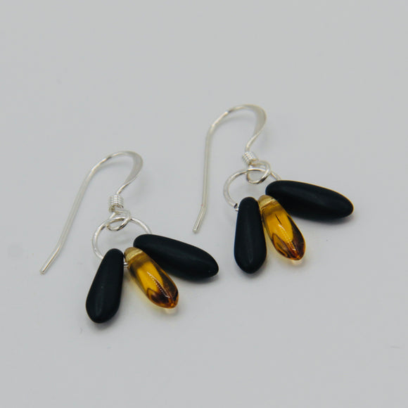 Janet Earrings in Black and Golden Yellow