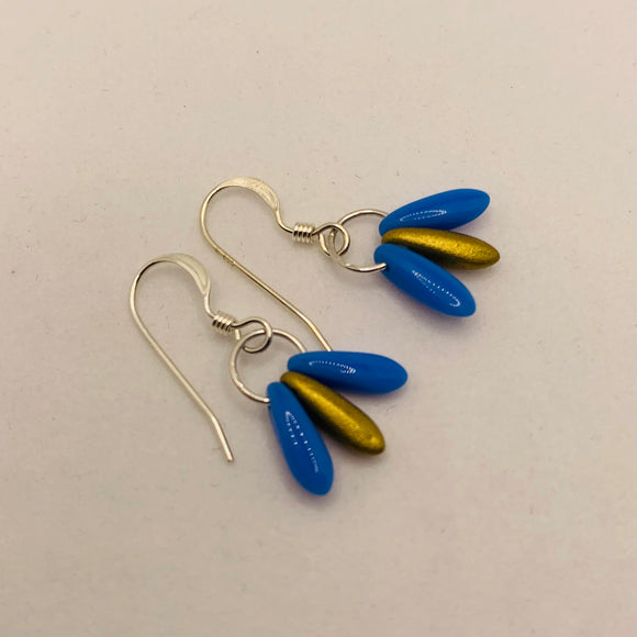 Janet Earrings in Bright Blue and Matte Gold