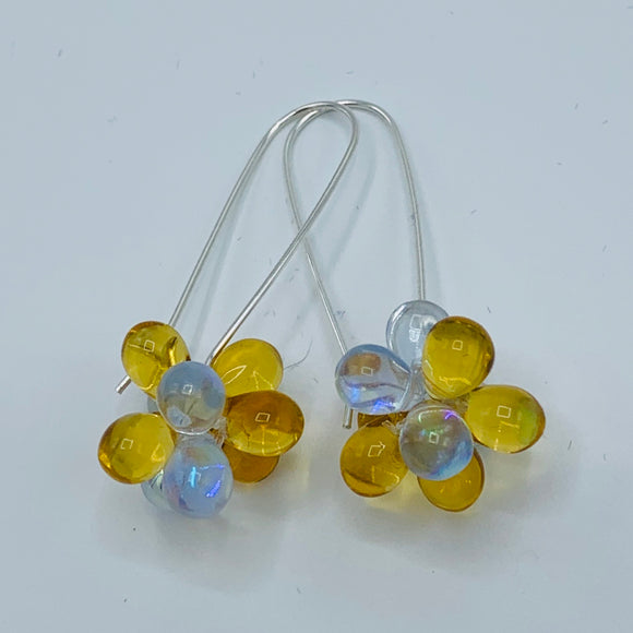 Shelalee Tracy Earrings Golden Brown Czech Glass Beads Sterling Silver