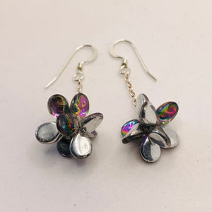 Heather Earrings in Metallic Silver with Rainbow Colors